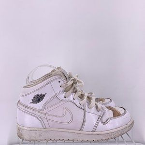 Nike Air Jordan 1 Mid GS White Cool Grey Size 6y
